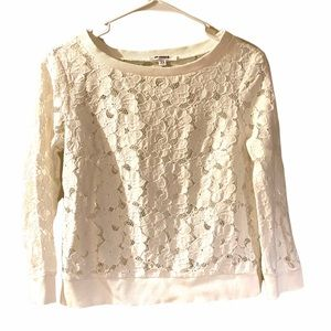 BB Dakota white floral lace embroidered top